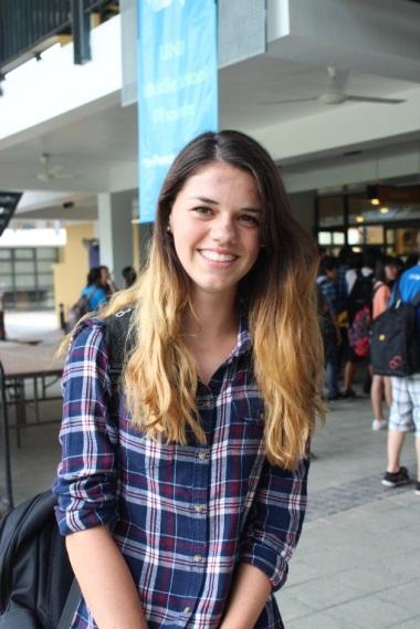 Melanie Beek, grade 10, looking like a luminous greek goddess with her bouncy golden locks.